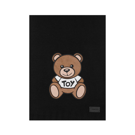Teddy Bear Felt Patch Scarf // Black