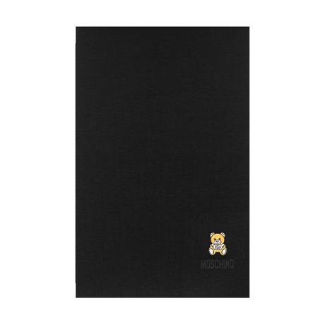 Teddy Bear Embroidery Scarf // Black