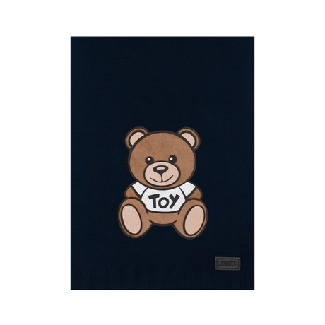 Teddy Bear Felt Patch Scarf // Navy Blue
