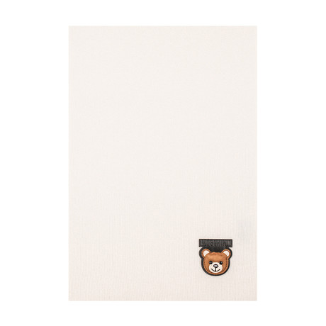 Teddy Bear Patch Scarf // White