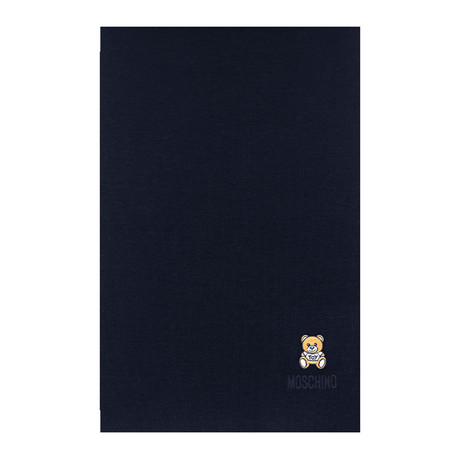 Teddy Bear Embroidery Scarf // Navy Blue