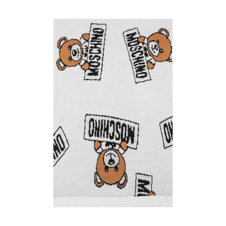 Allover Teddy Bear Scarf // White