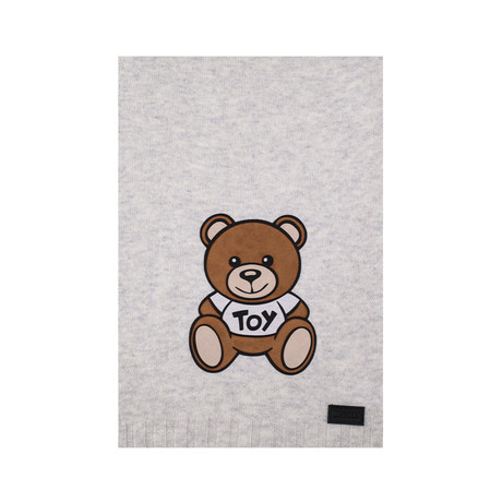 Teddy Bear Felt Patch Scarf // Gray