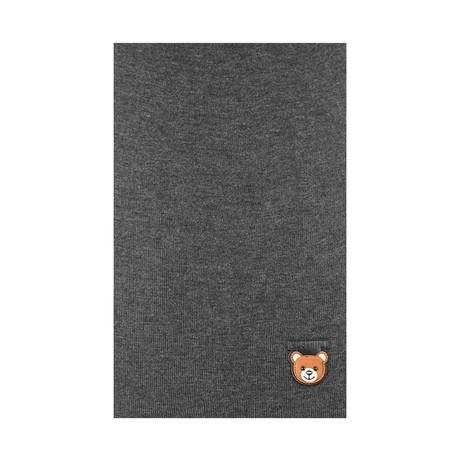 Teddy Bear Patch Scarf // Charcoal Gray