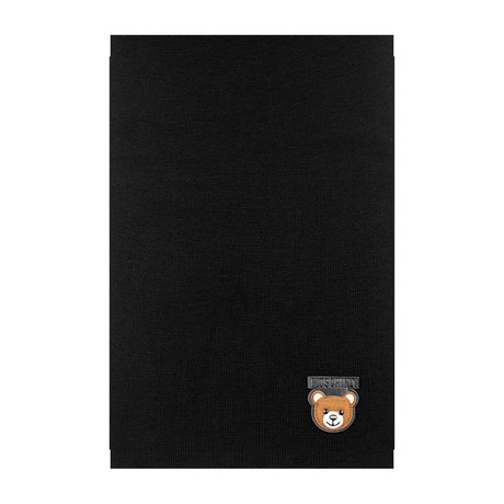 Teddy Bear Patch Scarf // Black