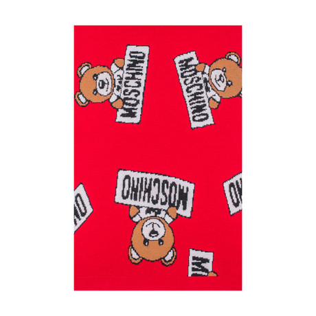 Allover Teddy Bear Scarf // Red