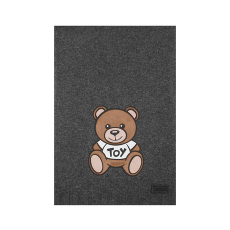 Teddy Bear Felt Patch Scarf // Charcoal Gray
