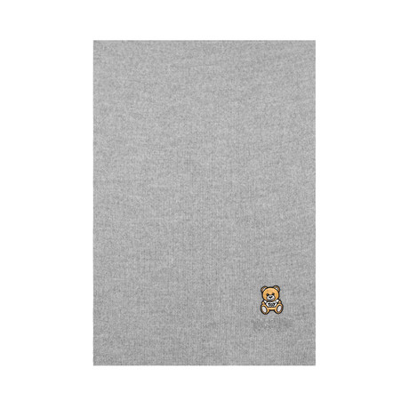 Teddy Bear Embroidery Scarf // Gray