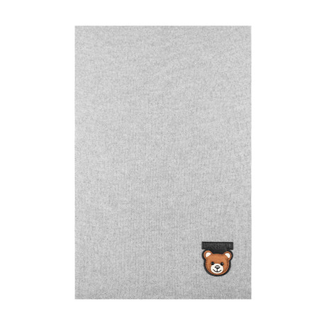 Teddy Bear Patch Scarf // Gray