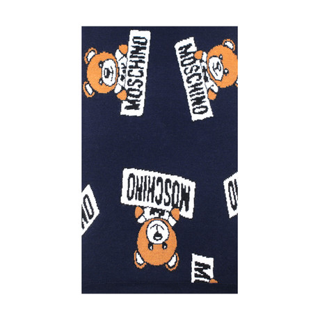 Allover Teddy Bear Scarf // Navy Blue