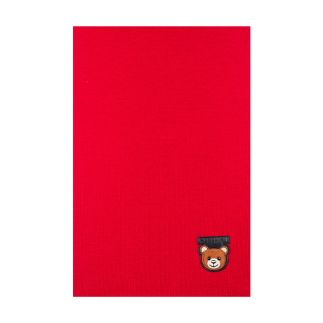 Teddy Bear Patch Scarf // Red
