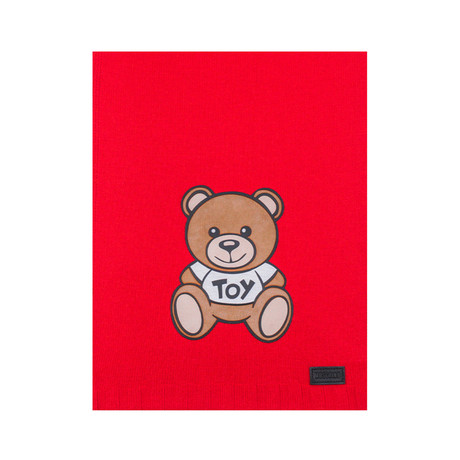 Teddy Bear Felt Patch Scarf // Red
