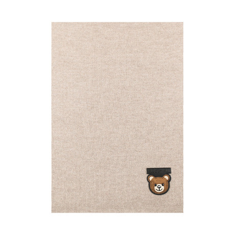 Teddy Bear Patch Scarf // Light Brown