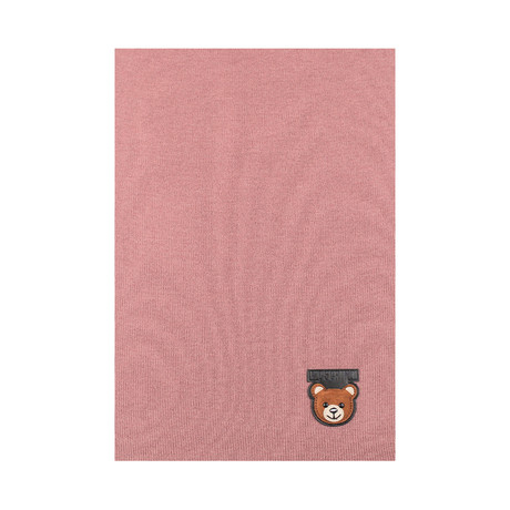 Teddy Bear Patch Scarf // Pink