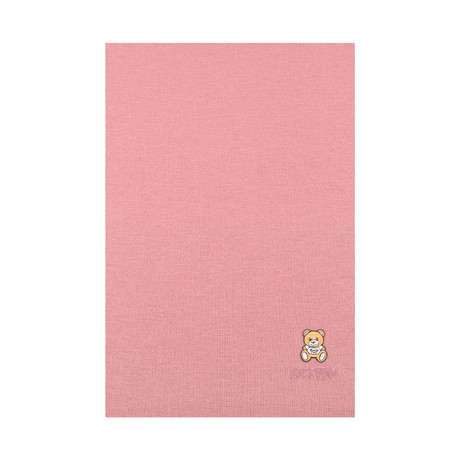 Teddy Bear Embroidery Scarf // Pink