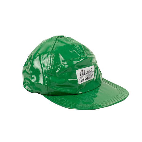 Off-White // Glossy Look Logo Patch Baseball Cap // Green