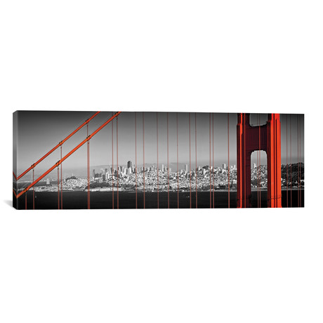 "Golden Gate Bridge Panoramic Downtown View // Melanie Viola (60""W x 20""H x 0.75""D)"