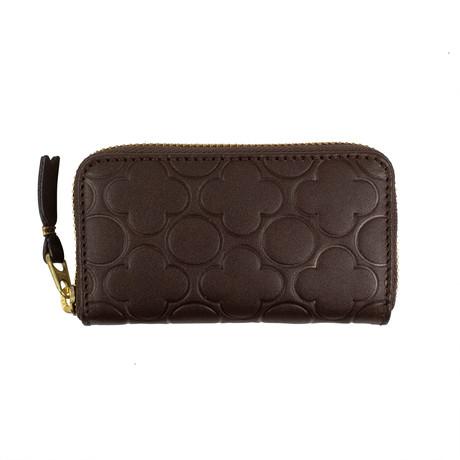 Comme Des Garçons // Leather Clover Embossed Mini Wallet Coin Purse // Brown