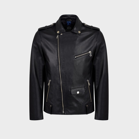 Racer Biker Leather Jacket // Black (S)