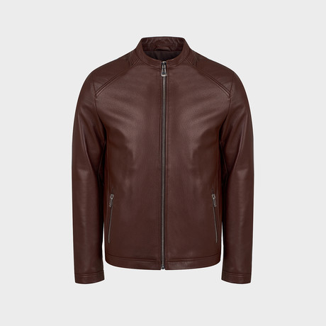 Maximus Blouson Leather Jacket // Red, Brown (S)