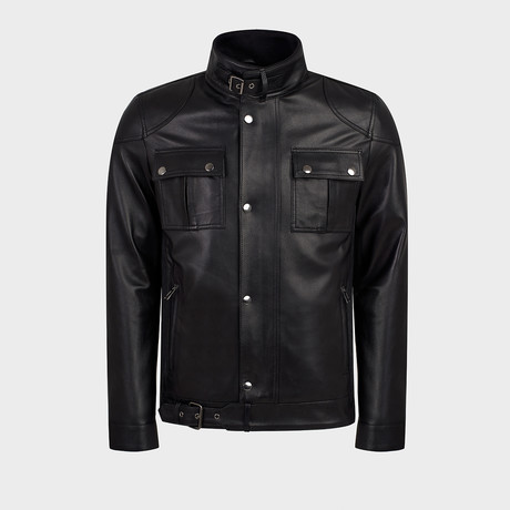Fox Jacket Leather Jacket // Black (S)