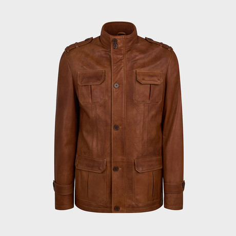 Zander 4 Pocket Leather Jacket // Camel (S)