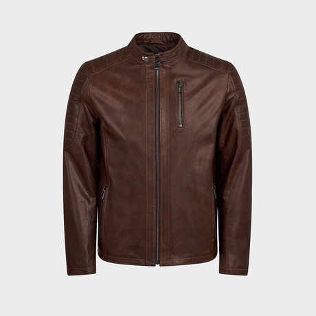 Titus Biker Leather Jacket // Oiled Brown (S)