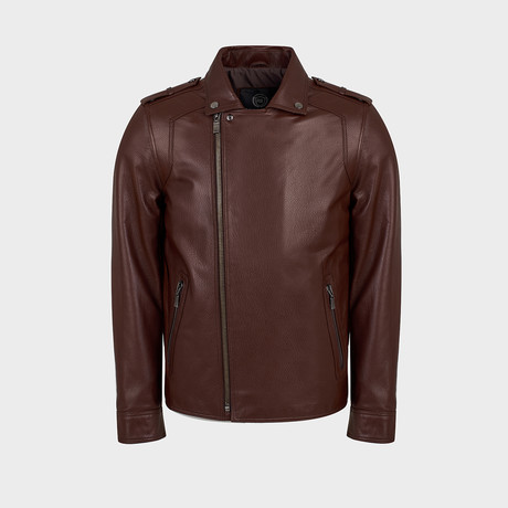 Ryker Biker Leather Jacket // Red Brown (S)