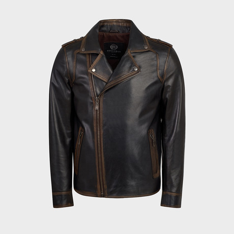 Ryker Biker Leather Jacket // Oiled Brown (S)