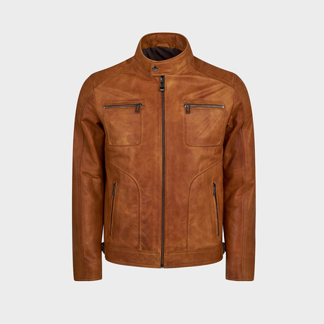 Harley Biker Leather Jacket // Camel (S)