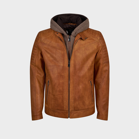 Zeke Biker Leather Jacket // Camel (S)