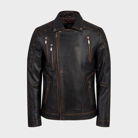 Jett Biker Leather Jacket // Oiled Brown (S)