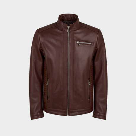 Zenon Biker Leather Jacket // Chestnut (S)