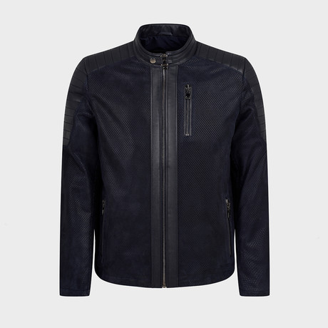 Titus Biker Leather Jacket // Dark Blue (S)