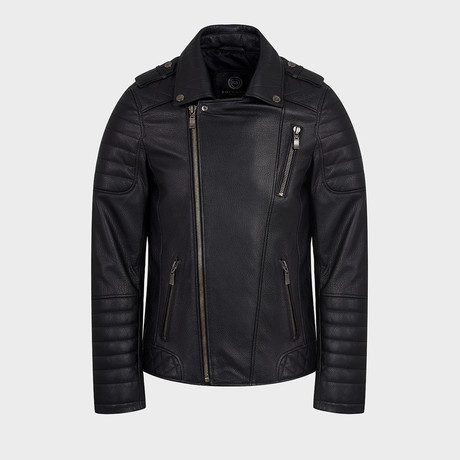Phoenix Biker Leather Jacket // Black (S)