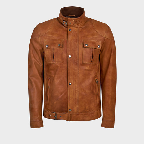 Fox Jacket Leather Jacket // Camel (S)