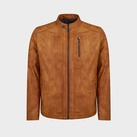 Titus Biker Leather Jacket // Camel (S)