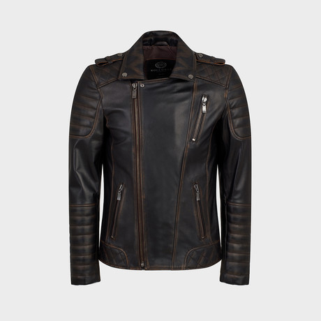 Hunt Biker Leather Jacket // Oiled Brown (S)