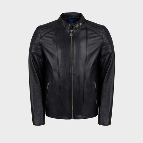 Blaze Biker Leather Jacket // Black (S)