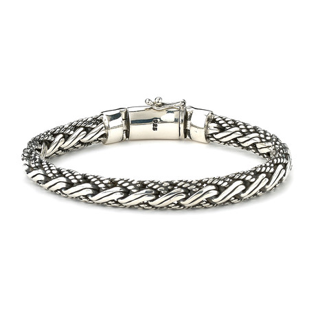 "Double Twisted Woven Bracelet // Silver (8"" // 50.5g)"