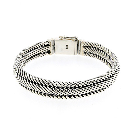 Twisted Rope Bracelet // Silver
