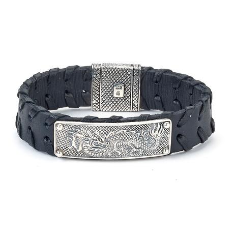 Dragon Design Leather Bracelet // Silver + Black