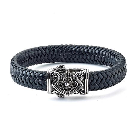 Leather Triangle Filigree Bracelet // Silver + Black