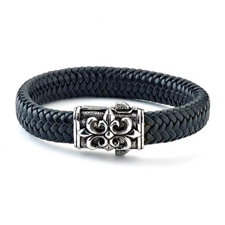 Leather Fleur De Lis Bracelet // Silver + Black