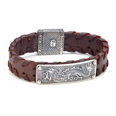 Dragon Design Leather Bracelet // Silver + Brown