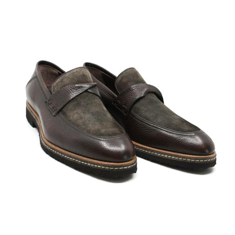 Suede + Leather Penny Loafer // Brown (US: 7)