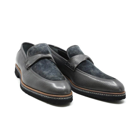 Suede + Leather Penny Loafer // Gray (US: 7)
