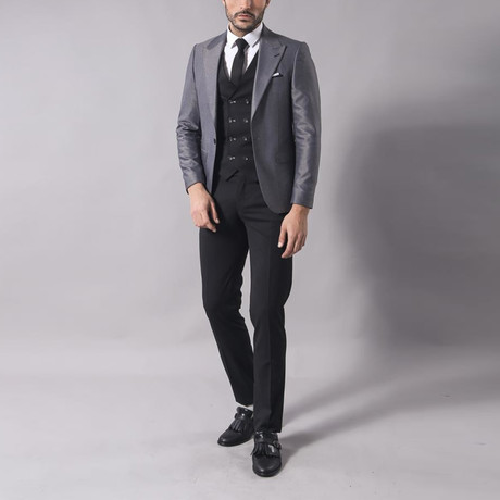 Jesse 3-Piece Slim Fit Suit // Smoked (Euro: 44)