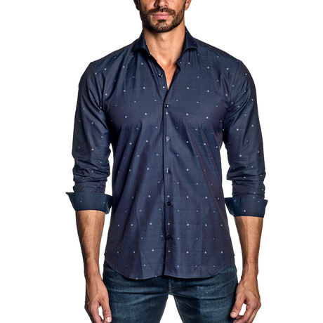 Long-Sleeve Shirt // Navy + Floral Jacquard (S)