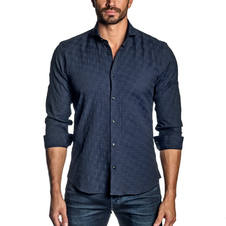 Long-Sleeve Shirt // Navy Seersucker (S)